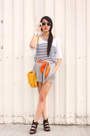 H&amp;M shorts - Hong Kong scarf - Zara bag - Club Monaco top