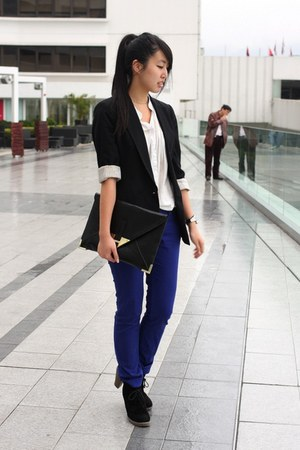black cotton on boots - blue Forever 21 jeans - black Zara blazer - white random