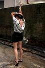 White-thrift-store-top-black-zara-shorts