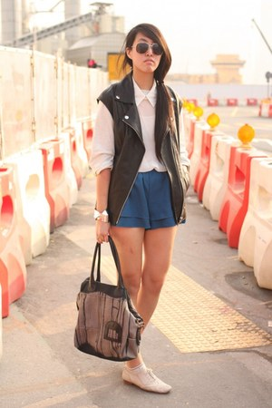H&amp;M vest - Diesel bag - korea shorts - korea sweatshirt