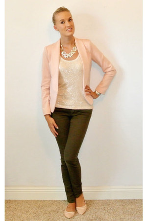 olive green Paige Denim pants - light pink Forever 21 blazer