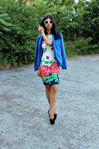 blue Pimkie blazer - floral Ageless dress - white H&M sunglasses - Shoetek heels