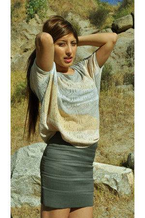 Pleasure Doing Business skirt - crochet macrame olive olivia blouse