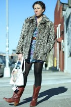 brick red vintage boots - purple Forever21 dress - heather gray vintage coat - l