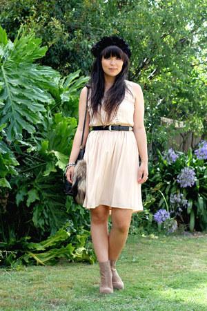 light pink wish dress - beige Jeffrey Campbell boots - black vintage bag