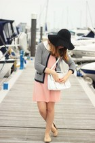 white satchel Ebay bag - coral Ebay dress - black fedora Primark hat