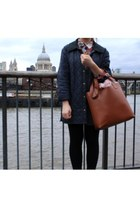 tawny Ebay bag - navy Barbour coat - ruby red Zara shirt