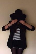blue Topshop shorts - black Primark hat - navy vintage blazer