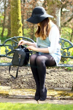 black Primark hat - black Primark bag - white knitwear Topshop jumper