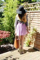 periwinkle Topshop dress - tan Aldo boots - black Primark hat