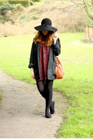 brick red vintage dress - black Primark hat - dark gray Mango via asos jacket