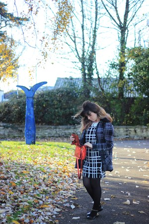 white checkered George dress - black plaid Primark coat