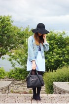 black felt fedora Primark hat - light blue denim vintage Lee jacket