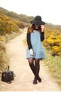 Light-blue-denim-topshop-dress-black-primark-hat-black-primark-bag