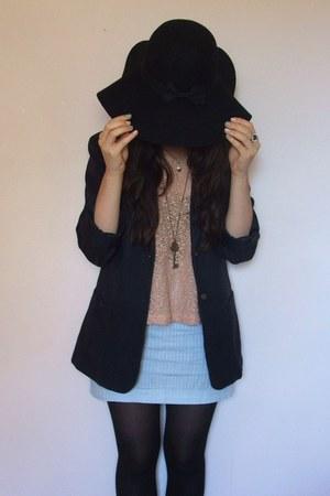 black Primark hat - navy vintage blazer - sky blue handmade skirt