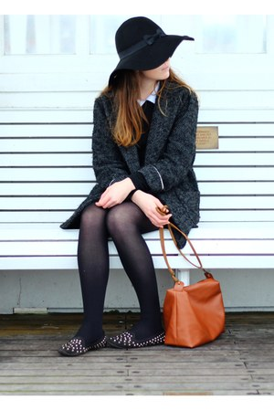 black Primark hat - black Ebay dress - gray Mango jacket - brown DIY bag