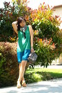 Teal-color-block-thakoon-dress-green-shift-dress-thakoon-dress-heather-gray-