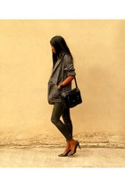 gray oversized Mango coat