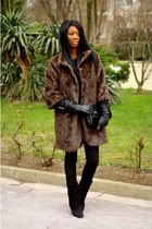 dark brown faux fur Mango coat