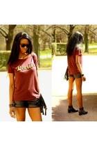 black studded booties boots - brick red Zara t-shirt