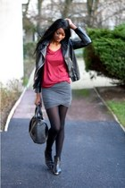 dark gray Ebay skirt - black bottom studded chicnova bag