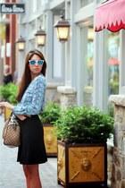 mirrored lens Amazon sunglasses - Gucci bag - ann taylor skirt