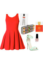 skater dress - bag - heels - earrings