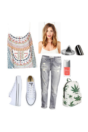 ring - triangle ring - shoes - jeans - bag - top