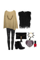 shag vest - boots - knit sweater - leggings - bag - bracelet