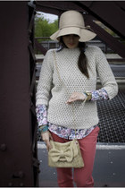 tan pitaya purse - beige H&M hat - tan Ralph Lauren sweater