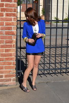 blue blazer - black leather UO shorts - white UO t-shirt - DSW wedges