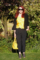 black Marks and Spencer jacket - yellow Bright Bags bag