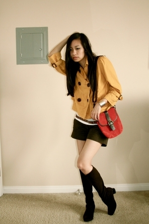 American Rag jacket - H&amp;M shirt - Zara shorts - ae belt - Munro boots - coach pu