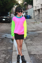 black harness Dolcetta by Dolce Vita boots - hot pink joyrich sweater