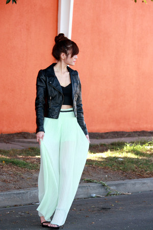 aquamarine sheer pleated Zara pants - black Zara shoes - black H&M jacket