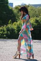 turquoise blue sheer maxi UNIF dress - turquoise blue tank H&M dress
