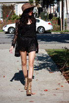 black lace American Apparel shorts - gold glitter Jeffrey Campbell boots