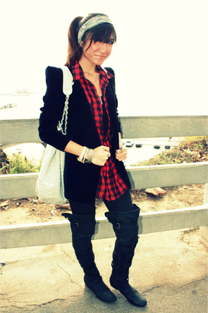 black funktional blazer - red Stapleford Buffalo shirt - black Nordstrom legging