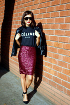 maroon sequins Topshop skirt - black Nasty Gal jacket