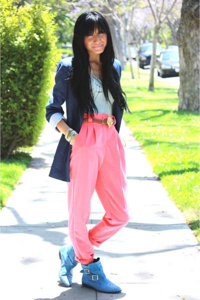 pink American Apparel pants - blue Topshop boots - blue Zara blazer