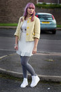White-lace-and-pleats-primark-dress-light-yellow-checkered-new-look-jacket