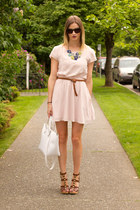 brown Michael Kors heels - light pink Aritzia dress - white Zara bag