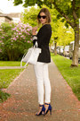 Blue-guess-heels-white-zara-jeans-black-aritzia-blazer-white-zara-bag