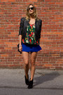 Black-forever-21-jacket-black-choies-sunglasses-blue-choies-skirt