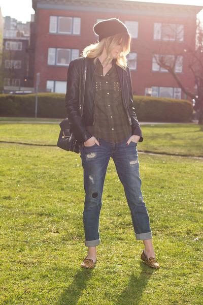 blue Zara jeans - silver botkier bag - gold Zara loafers - army green Zara top