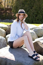 Tan-holt-renfrew-hat-black-zara-shorts-black-zara-sandals