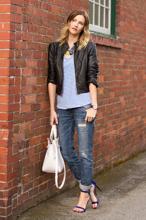 blue boyfriend Zara jeans - black leather Forever 21 jacket - white Zara bag