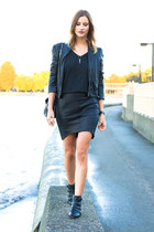 black sam edelman boots - black Forever 21 jacket - black Witchery skirt