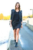 black sam edelman boots - black Forever 21 jacket - black Witchery skirt