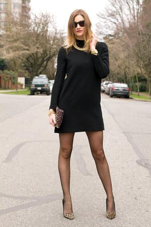 black Zara dress - black Fiore tights - purple Anthropologie bag